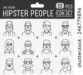 hipster people line design... | Shutterstock .eps vector #246779896