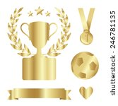 shiny gold trophy cup  medal ... | Shutterstock .eps vector #246781135