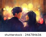 young couple in love outdoor... | Shutterstock . vector #246784636