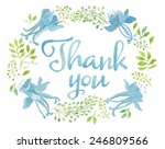 blue watercolor thank you words ... | Shutterstock . vector #246809566
