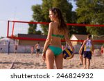beautiful beach volleyball... | Shutterstock . vector #246824932
