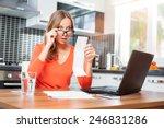 stressed over bills. surprised... | Shutterstock . vector #246831286