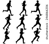 set of silhouettes. runners on... | Shutterstock . vector #246866206