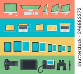 set of flat design icons of... | Shutterstock .eps vector #246883372