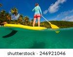 split underwater photo of young ... | Shutterstock . vector #246921046