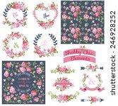 vintage floral set   frames ... | Shutterstock .eps vector #246928252