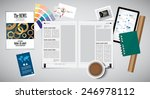 open magazine and desk... | Shutterstock .eps vector #246978112