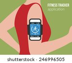 running girl with a smartphone... | Shutterstock .eps vector #246996505