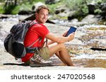 tablet computer man hiker... | Shutterstock . vector #247020568