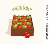wooden crate full of apples red ... | Shutterstock .eps vector #247023418