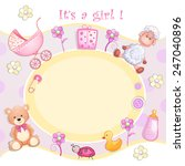 baby shower card with toys.  | Shutterstock .eps vector #247040896