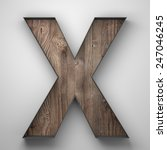 Vintage wooden letter x with...