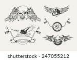 set of motorcycle emblems ... | Shutterstock . vector #247055212