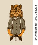 Illustration Of Hipster Cat....