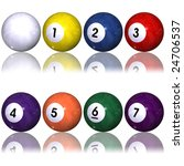 cue and one to seven pool balls ... | Shutterstock . vector #24706537