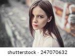 portrait of sad young girl   Shutterstock . vector #247070632