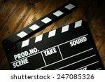 movie clapper on wooden... | Shutterstock . vector #247085326