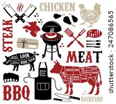 barbecue pattern with meaty... | Shutterstock .eps vector #247086565
