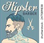 retro barber shop vintage... | Shutterstock .eps vector #247089838