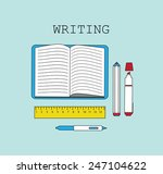 writing pan and notebook line... | Shutterstock .eps vector #247104622
