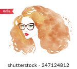 young woman wearing glasses.... | Shutterstock .eps vector #247124812