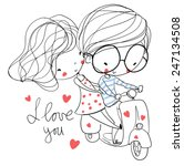 lovers boy and a girl on a... | Shutterstock .eps vector #247134508