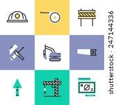 Постер, плакат: Flat line icons of
