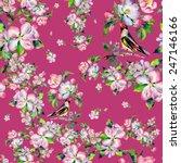 seamless pattern spring bird on ... | Shutterstock . vector #247146166