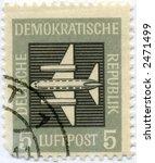 vintage postage stamp deutch world ephemera - stock photo