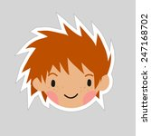 cartoon boy head flat sticker...