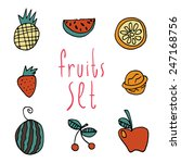 vector cartoon flat fruits set...
