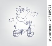 pepa pig on a bicycle line | Shutterstock .eps vector #247189735