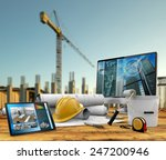 working tools of the builder in ... | Shutterstock . vector #247200946