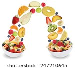 flying fruit salad in bowl with ... | Shutterstock . vector #247210645