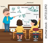 the teacher teaching his... | Shutterstock .eps vector #247211392