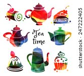 set of watercolor teapot and... | Shutterstock .eps vector #247222405