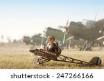 young aviator sits in his... | Shutterstock . vector #247266166
