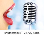 singing woman and retro... | Shutterstock . vector #247277386
