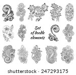 set of henna paisley mehndi... | Shutterstock .eps vector #247293175