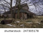 The Old Rustic Barn On A Cold...