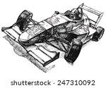 race car with racer  old school ... | Shutterstock .eps vector #247310092
