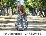 man with old bike and corduroy... | Shutterstock . vector #247319458