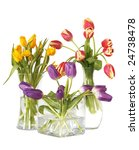 Colorful Tulips In Three Glass...