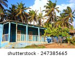 Typical Blue House On Seashore...