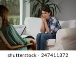 young woman talking with... | Shutterstock . vector #247411372