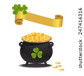 treasure pan with lucky... | Shutterstock .eps vector #247416316