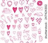 happy valentine's doodle set... | Shutterstock .eps vector #247424302