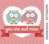 two cute cartoon owls in love... | Shutterstock .eps vector #247436296