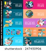 infographic teamwork banner set ...