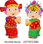 cartoon chinese kids wearing... | Shutterstock .eps vector #247451386